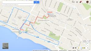 Красным - путь с вокзала до отеля. Синим - прогулка.