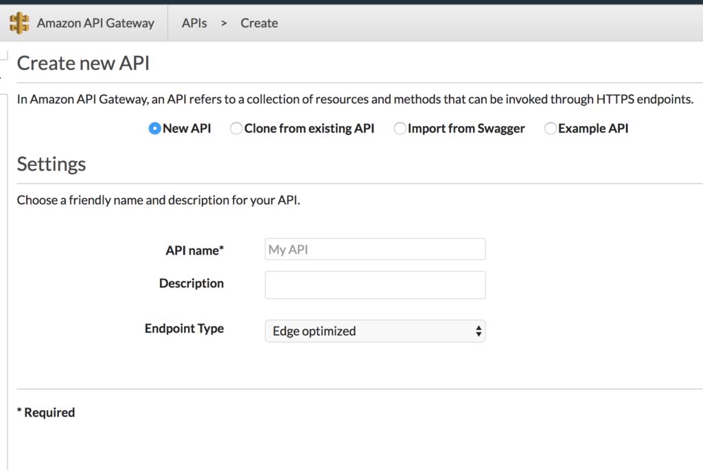 api gateway creation page