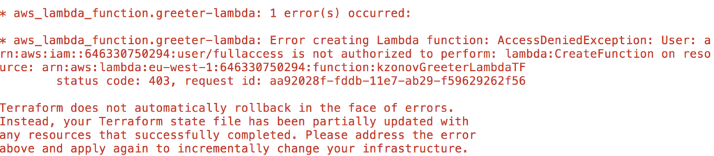 No permissions aws lambda error