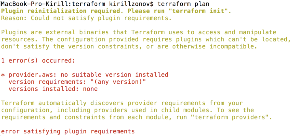 terraform plan fails